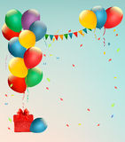 Retro holiday background with colorful balloons. Royalty Free Stock Images