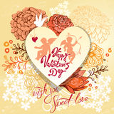 Retro holiday background or greeting card with heart and flowers Royalty Free Stock Photography