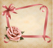 Retro holiday background with pink rose Royalty Free Stock Photography