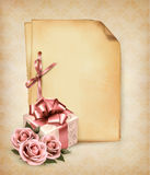 Retro holiday background with pink roses and gift  Royalty Free Stock Photo
