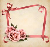 Retro holiday background with pink roses and ribbo Stock Photos
