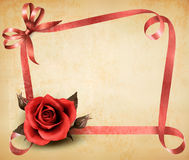 Retro holiday background with red rose and ribbons Royalty Free Stock Photos