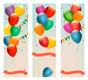 Retro holiday banners with colorful balloons and flags. Royalty Free Stock Photography