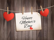 Retro holiday mother day background with red paper hearts. On wooden texture. Vector Stock Photography