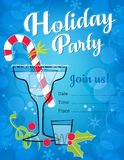 Retro Holiday Party Invitation with cocktails and candy cane stock illustration
