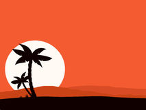 Retro holiday red background with sunset and palm. Vector Illustration of tropical holiday background. Black palm silhouette and sun behind hills Stock Images