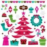 Retro holly jolly christmas design elements set royalty free illustration