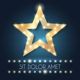 Retro- Hollywood-Star-Rahmen mit Mitteilung und Lichter vector Illustration Stockfotografie