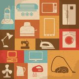 Retro home appliances icons. Vector illustration Royalty Free Stock Image