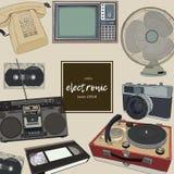 Retro home appliances. Vector hand draw  illustration Stock Photography
