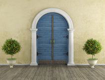 Retro Home entrance with old portal Royalty Free Stock Images