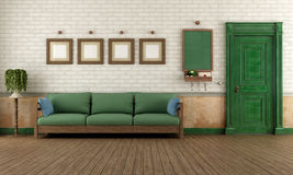 Retro home entrance. Vintage home entrance with wooden doorand green sofa - rendering Stock Photo
