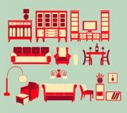 Retro Home interior Living Furniture Set Stock Photos
