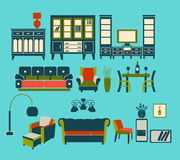 Retro Home Living Furniture Set - Illustration Royalty Free Stock Photo