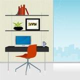 retro home modernt kontor stock illustrationer