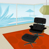 Retro home, View of Pool. Retro-stylized modern lounge chair with view of swimming pool. Each item is grouped so you can use them independently from the Stock Photography