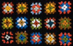 Retro homemade crochet blanket. Made from Granny Squares royalty free stock photos