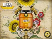 Retro honey ads Royalty Free Stock Photography