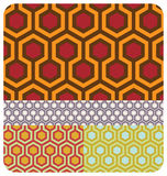 Retro Honeycomb. Set of 4 70s style colour versions of the beehive pattern ~ seamless Stock Images