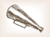 Retro horn loudspeaker sketch vector illustration Stock Photography