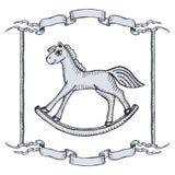 Retro horse. Illustration of vintage wooden horse toy Stock Photos