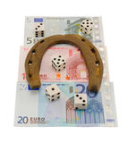 Retro horseshoe gamble dice euro banknote isolated Stock Photography
