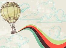 Retro hot air balloon. Retro background sky, clouds and hot air balloon Stock Photo