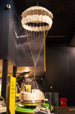 Retro hot air balloon.Science Museum in London. Retro hot air balloon model exposed in the museum of science..Londons Science Museum is located in South Stock Photography