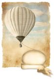 Retro hot air balloon on sky with banner, background old paper texture. Vintage hot air balloon with banner, background, cover, advertisement, old paper texture Stock Photo