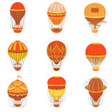 Retro Hot Air Balloons Set. Detailed Vector Drawings In Orange An Red Colors. Old-school Air Travel Transportation Design Collection Stock Images