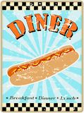Retro hot dog diner sign Stock Image