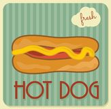 Retro hot dog poster Royalty Free Stock Photos
