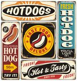 Retro hot dog signs collection royalty free illustration