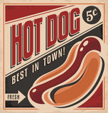 Retro hot dog wektorowy plakatowy projekt Fotografia Stock