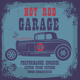 Retro Hot Rod poster. Color illustration Stock Image