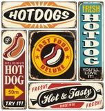 Retro- Hotdog unterzeichnet Sammlung Stockfotografie