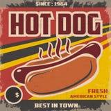 Retro hotdogaffiche Stock Fotografie
