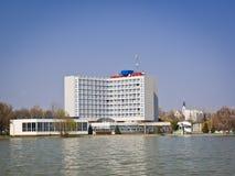 Retro hotel by lake Stock Image