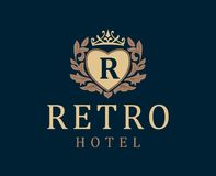 Retro Hotel. Letter emblem R in heart with crown.  Royalty Free Stock Image