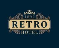 Retro Hotel. Luxury Logo template calligraphic ornament lines.  Royalty Free Stock Photo