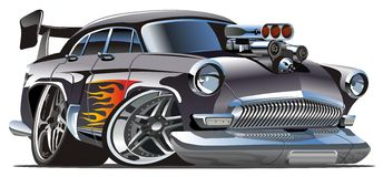 Retro hotrod del fumetto di vettore Fotografie Stock