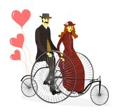 Retro houdende van paarman en vrouw op fietsen met B stock illustratie