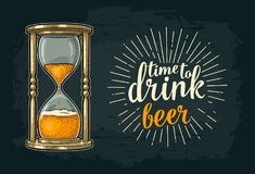 Retro hourglass with beer. Vector vintage engraving Royalty Free Stock Photography