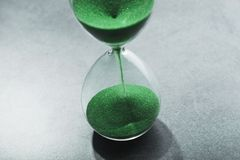 Retro hourglass. With two transparent flask with sand on background. Time passing concept Stock Photo