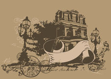Retro house. Retro illustration of a house and a decorative banner Stock Image