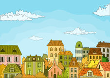 Retro houses. Vector illustration with colorful retro houses Royalty Free Stock Images