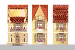 Retro Houses with windows in Northern European style. Holiday packing design Stock Photos