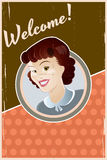 Retro housewife background. Vintage illustration of a retro housewife Stock Photography