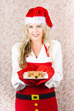 Retro Housewife Baking Christmas Cookies Stock Photos