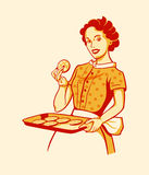 Retro housewife cooking Stock Photography